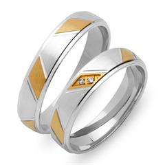 Trauringe 750er Gelb- Weissgold 2 Diamanten