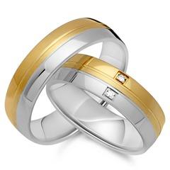 Trauringe 585er Gelb- Weissgold 2 Diamanten