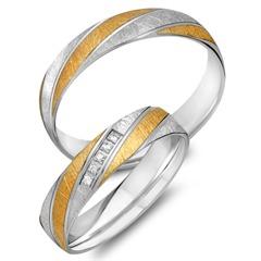 Trauringe 585er Gelb- Weissgold 5 Diamanten