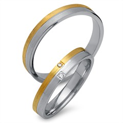 Trauringe 333er Gelb- Weissgold 2 Diamanten