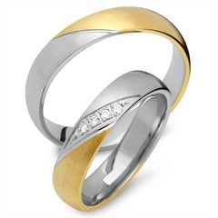 Trauringe 585er Gelb- Weissgold 4 Diamanten