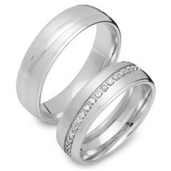 Trauringe 333er Weissgold 33 Diamanten