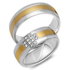 Trauringe 585er Gelb- Weissgold 12 Diamanten