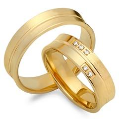 Trauringe 333er Gelbgold 5 Diamanten