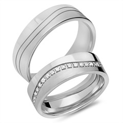 Eheringe 333er Weissgold 33 Diamanten
