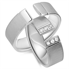 Eheringe 585er Weissgold 6 Diamanten