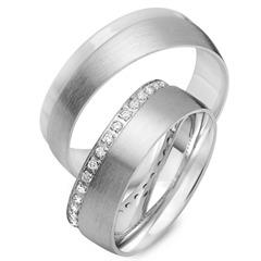Trauringe 750er Weissgold 34 Diamanten