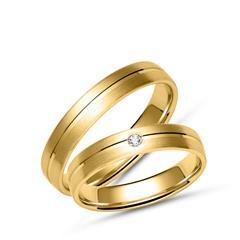 Goldene Eheringe mit Mattierung und Glanzrille