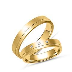 Goldenes Eheringset, längs mattiert mit Glanzrille