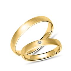 Mattierte Eheringe aus Gelbgold