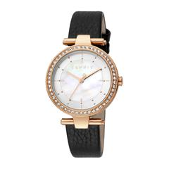 Ladies' Watch With Leather Strap, Black, Rosé