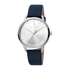 Ladies Blue Leather And Stainless Steel Watch With Quartz Movement