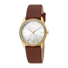 Ladies' Watch In Leather And Stainless Steel, Brown Gold