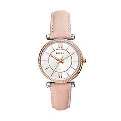 Uhr Carlie für Damen mit Lederband, rosé