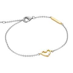 Heart Bracelet For Ladies In Sterling Silver, Partly Gold-Plated