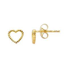 Herz Ohrstecker für Damen aus Sterlingsilber, vergoldet