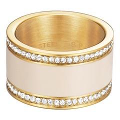 Edelstahlring Classy Cream Gold