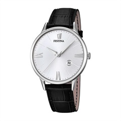 Noble Mens Watch Stainless Steel Leather Black