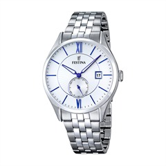 Mens Watch Stainless Steel Blue Accents