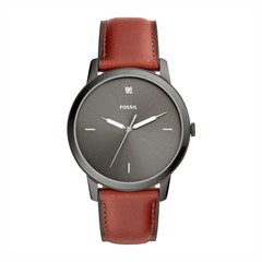 Herrenuhr The Minimalist Leder rotbraun