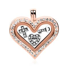 Set Herz Medaillon Charms Silber rosé