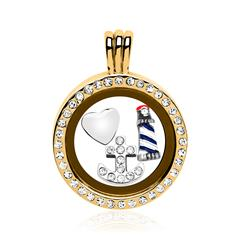 Set Locket Charms Sterling Silver Gold