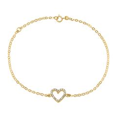 Damenarmband Herz aus 585er Gold mit Zirkonia