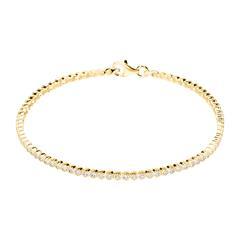 9K Gold Bracelet With Zirconia And Milgrain Edging
