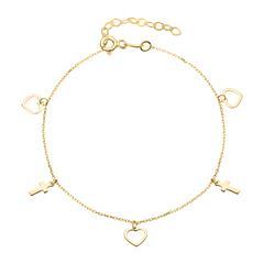Herzarmband mit Kreuzanhängern aus 375er Gold