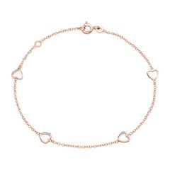 Bracelet Hearts For Ladies In 14K Rose Gold