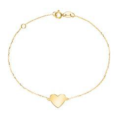 Bracelet Heart For Ladies In 9K Gold, Engravable