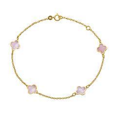 585er Goldarmband für Damen mit Blüten aus Perlmutt