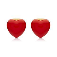 Rote Herzen Ohrstecker aus 375er Gold