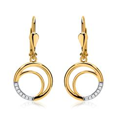 Ohrringe Kreise aus 333er Gold mit Zirkonia