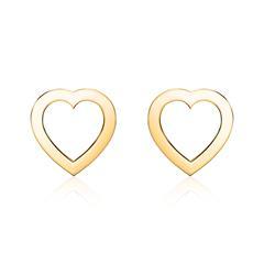 Herz Ohrstecker für Damen aus 585er Gold