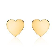 Gravierbare Herz Ohrstecker für Damen aus 14K Gold