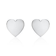 Gravur Ohrstecker Herzen für Damen aus 585er Weißgold