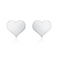585er Weißgold Ohrstecker Herzen für Damen, gravierbar