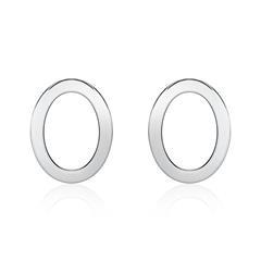 Ohrstecker Ovale für Damen aus 14K Weißgold