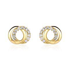 Kreis Ohrstecker für Damen aus 9K Gold mit Zirkonia