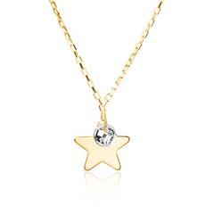 Sternkette für Damen aus 375er Gold mit Zirkonia