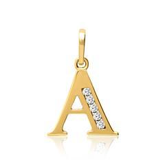 333er Gold Buchstabenanhänger A mit Zirkonia
