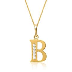 333er Goldkette Buchstabe B mit Zirkonia