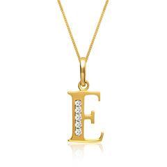333er Goldkette Buchstabe E mit Zirkonia