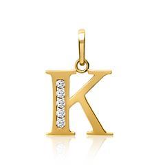 333er Gold Buchstabenanhänger K mit Zirkonia