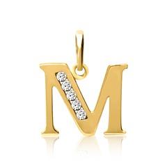 333er Gold Buchstabenanhänger M mit Zirkonia