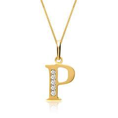 333er Goldkette Buchstabe P mit Zirkonia