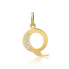333er Gold Buchstabenanhänger Q mit Zirkonia