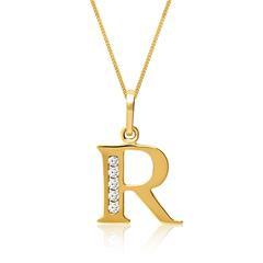 333er Goldkette Buchstabe R mit Zirkonia