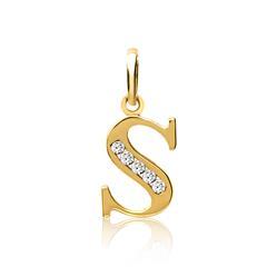 333er Gold Buchstabenanhänger S mit Zirkonia